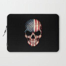 American Flag Skull on Black Laptop Sleeve