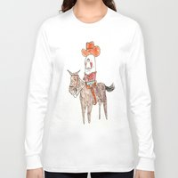 manatee Long Sleeve T-shirts featuring Manatee Cowboy by withapencilinhand
