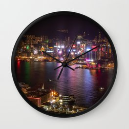 Night Lights on Hong Kong's Victoria Harbour Wall Clock