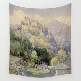 Overlooking the Hohenwerfen Fortress in Salzburg by Edward Theodor Compton Wall Tapestry