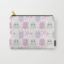 Cute mauve pink purple teal owl floral pattern Carry-All Pouch