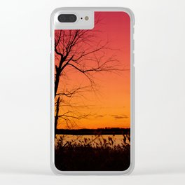 Nature Landscape Photograph Burning Skies, Hazy Summer Sunset Clear iPhone Case