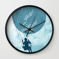 wings Wall Clocks featuring Wings by AA Morgenstern
