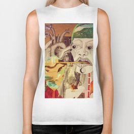 Weeping Girl Collage 1 Biker Tank