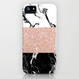 Modern black white marble rose gold color block stripes pattern iPhone Case