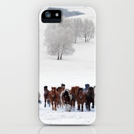 Horses running on the snow iPhone Case