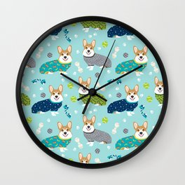 Corgi pajamas welsh corgi in pjs pattern print cute dog gifts custom dog portrait Wall Clock
