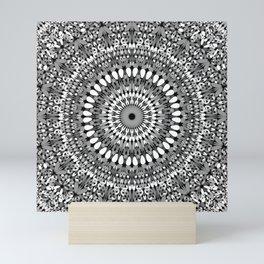 Grey Ornate Gravel Mandala Mini Art Print
