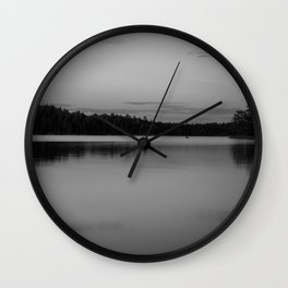 Black and White Sunset on Little Loon Wall Clock