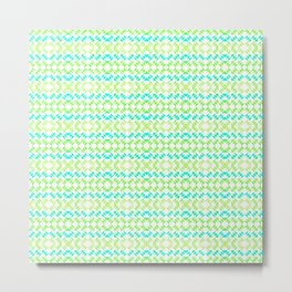 Green and Cyan Geometric Fashion Pattern Metal Print