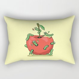 Funny worms in the apple  Rectangular Pillow