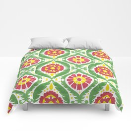 Hand painted red green yellow watercolor motif Comforters