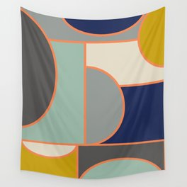 Colorful Geometric Cubism Design Wall Tapestry