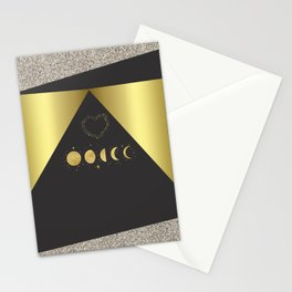 Faux Gold Moon Phases Gold Heart Stationery Cards