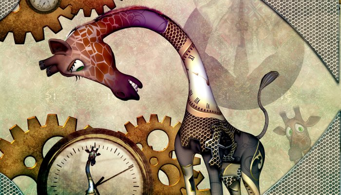 Funny giraffe, steampunk with clocks and gears Pillow Sham