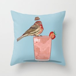 Strawberry Finch Throw Pillow