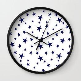 Stars - Navy Blue on White Wall Clock