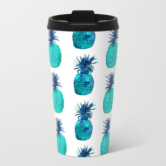 Mint pineapples || watercolor Metal Travel Mug