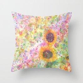 Cosmic Helianthus - Sunflowers Throw Pillow