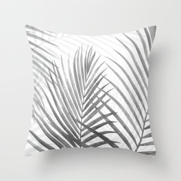 Black and White Tropical Palms Throw Pillow