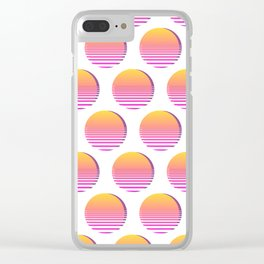80s Gradient Retro Vaporwave Sun Clear iPhone Case