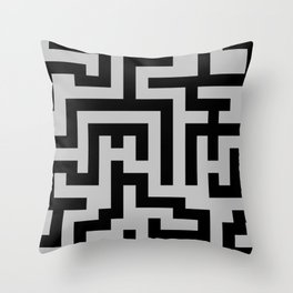 Black and Gray Labyrinth Throw Pillow