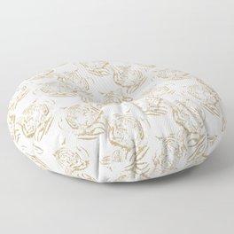 Elegant Gold Glitter Tiger Print White Design Floor Pillow
