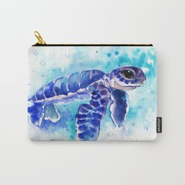 Blue Hawaiian Sea Turtle, Turquoise Blue Cute Animal Sea world Art Carry-All Pouch