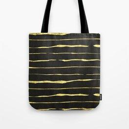 Gold Wiggly Stripes on Black Tote Bag