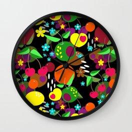 Fruit berry pattern on black . Wall Clock