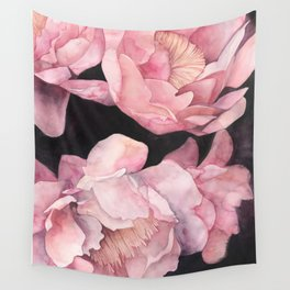 Peonies on Dark Background Wall Tapestry