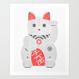 Lucky Kitty - red and black cat art Art Print