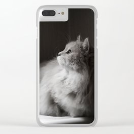Siberian cat. Yet another rainy day. Clear iPhone Case