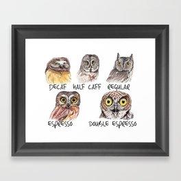 Owl Caffeine Meter -  funny owl coffee Framed Art Print