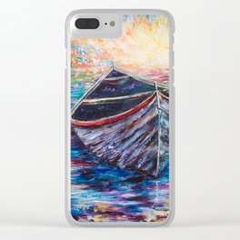 Wooden Boat at Sunrise - original oil painting with palette knife #society6 #decor #boat Clear iPhone Case