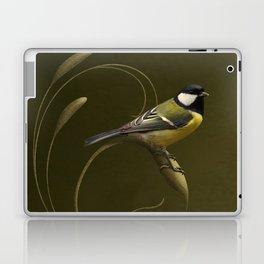 Great tit on swirled branch Laptop & iPad Skin