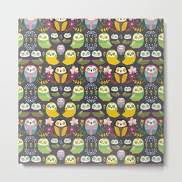 Owls and flowers Metal Print
