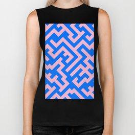 Cotton Candy Pink and Brandeis Blue Diagonal Labyrinth Biker Tank