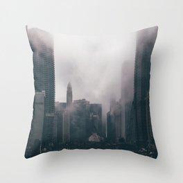 Chicago Shrouded in Fog Throw Pillow