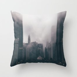 Chicago Shrouded in Fog Throw Pillow