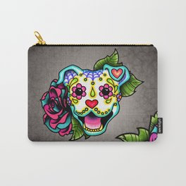 Smiling Pit Bull in White - Day of the Dead Pitbull Sugar Skull Carry-All Pouch