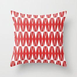 Mid Century Modern Diamond Pattern Red 234 Throw Pillow