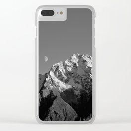 Moon Over Pioneer Peak B&W Clear iPhone Case