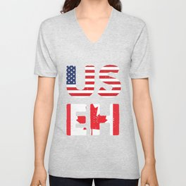 USEH America Canada Flag T-Shirt Funny American Canadian Tee Unisex V-Neck