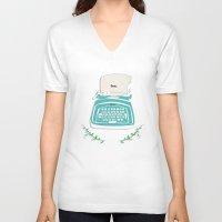 typewriter V-neck T-shirts featuring typewriter by WreckThisGirl