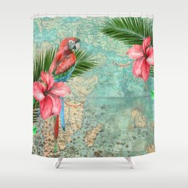 Tropical Map Shower Curtain