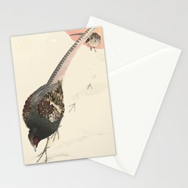 Japanese landscape in snow with birds Stationery Cards