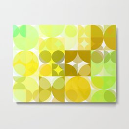 Pale Yellow Poinsettia 1 Abstract Circles 3 Metal Print