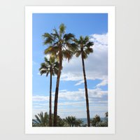 palm trees Art Prints featuring Palm Trees by Rebecca Bear