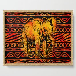 Textured Ethnic and Animal Print and Elephant Serving Tray